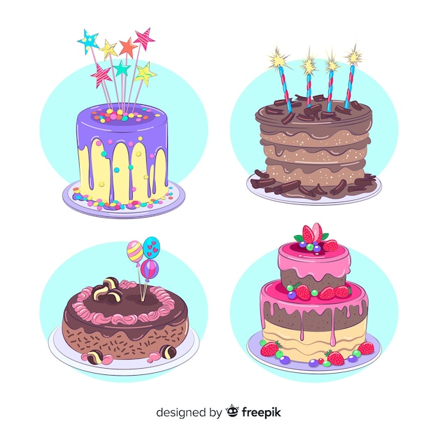 Birthday cake collection Free Vector