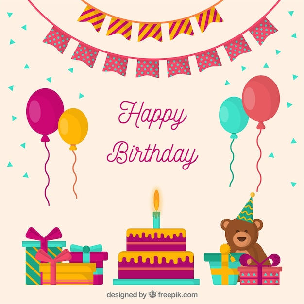 Birthday Cake Composition With Flat Design Vector Free Download