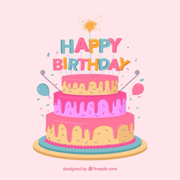 Birthday Cake Composition With Flat Design Free Vector