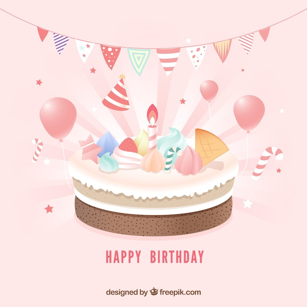 Birthday cake composition with realistic style Free Vector