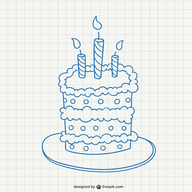 Birthday Cake Doodle Vector Free Download