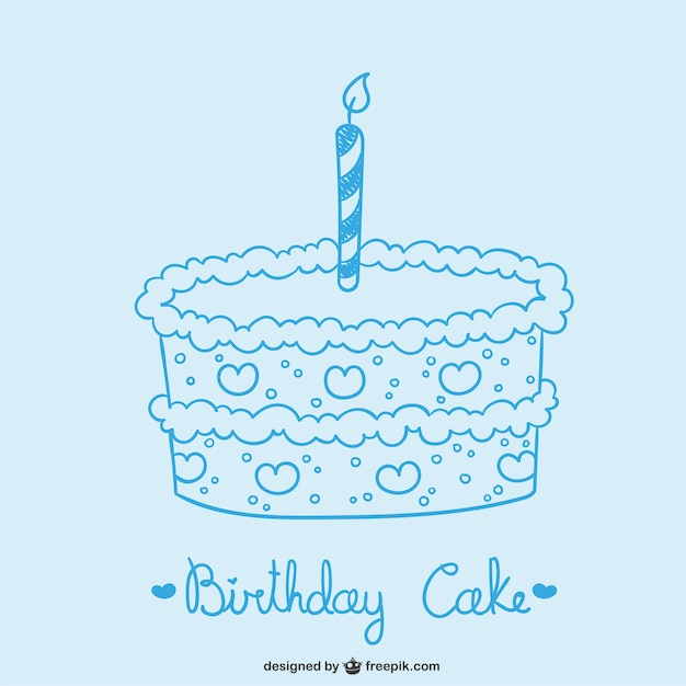 Birthday Cake Drawing Vector Free Download