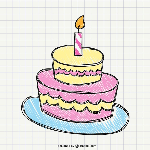 Pictures Of Birthday Cakes Drawings : Birthday cake drawing Vector Free Download