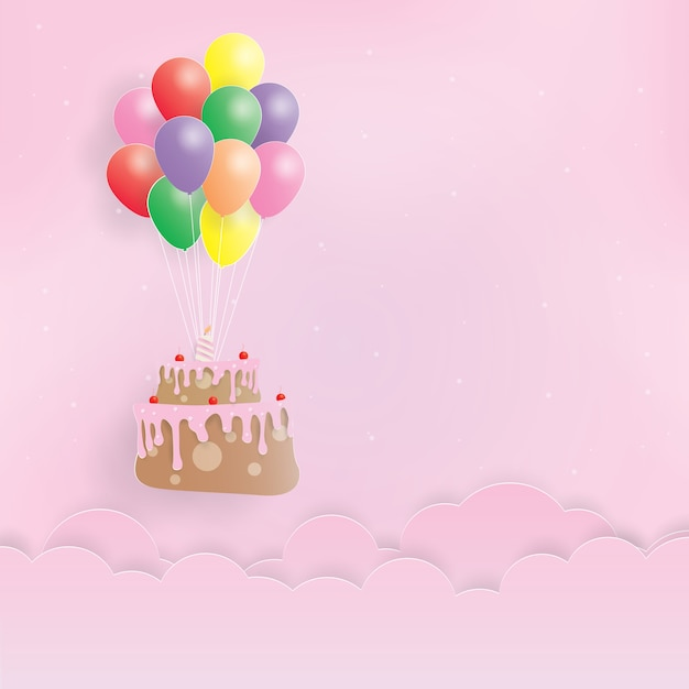 Enjoyable Birthday Cake Hanging With Balloons Happy Birthday Paper Art Funny Birthday Cards Online Aeocydamsfinfo