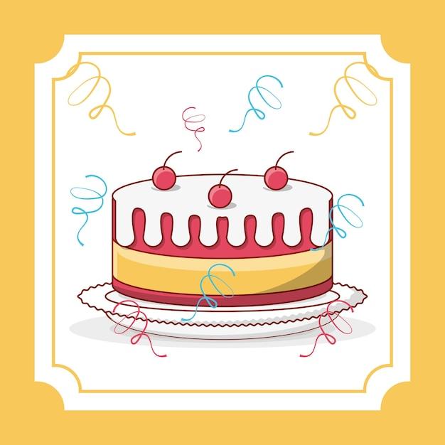 Birthday cake icon over decorative white frame Vector | Premium Download