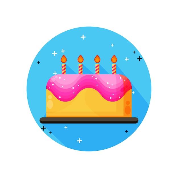 Значок торта ко дню рождения Premium векторы