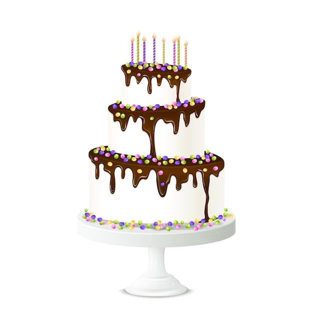 Birthday cake illustration Free Vector