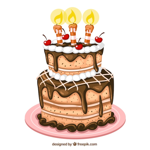Birthday cake illustration Vector Free Download