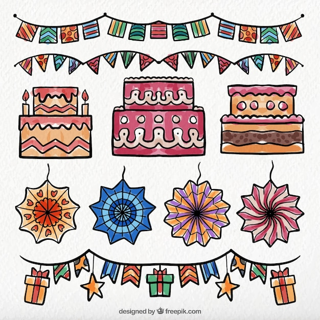 Birthday cake pack and watercolor decoration