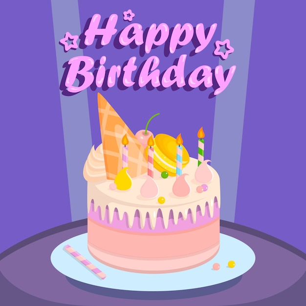 Birthday cake for party on purple background. Premium Vector