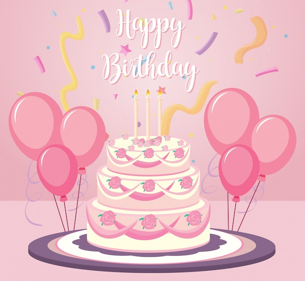 A birthday cake on pink background Free Vector