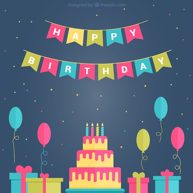 Birthday Cake Set With Balloons And Gifts In Flat Design Vector