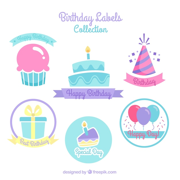Birthday cake stickers with other elements Free Vector