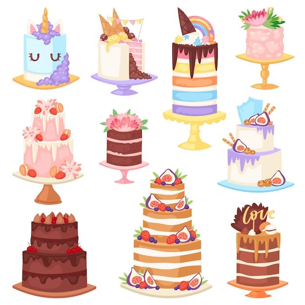Торт ко дню рождения вектор чизкейк кекс для вечеринки по случаю счастливого рождения испеченный шоколадный торт и десерт из пекарни набор иллюстрации на белом фоне Premium векторы
