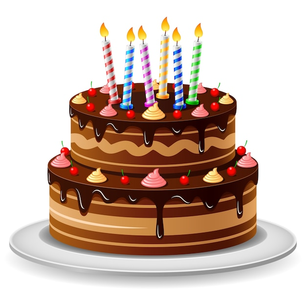 Birthday Cake On A White Background Vector Premium Download