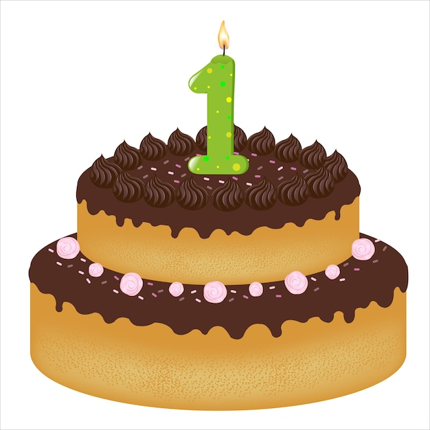 День рождения торт со свечами с номером один, на белом фоне, иллюстрация Premium векторы
