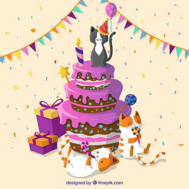 Birthday Cake With Cats Free Vector