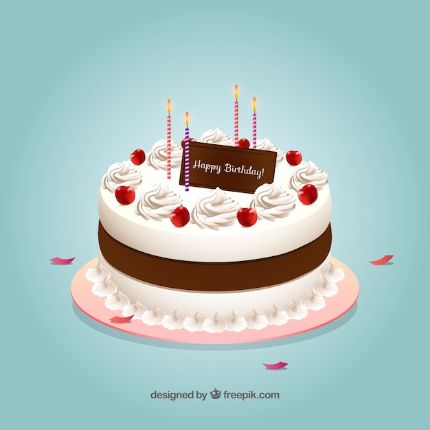 Birthday cake with realisitc style Free Vector