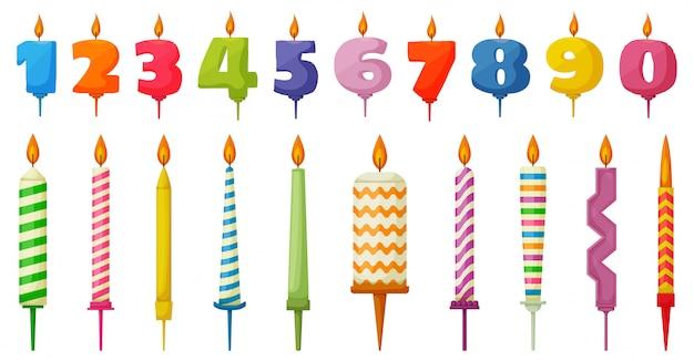 День рождения свечи мультфильм установить значок. мультфильм установить значок годовщины. иллюстрация день рождения свечи на белом фоне. Premium векторы