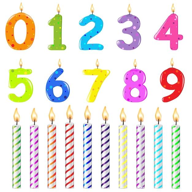 День рождения свечи разной формы, на белом фоне, иллюстрация Premium векторы
