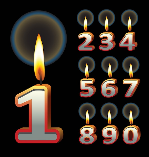 Birthday candles. use for birthday event design. Premium Vector