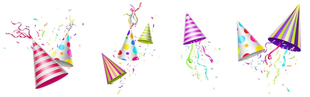 Birthday caps with colorful ribbons and confetti Free Vector