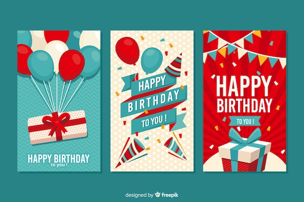 Birthday card collection flat design Free Vector