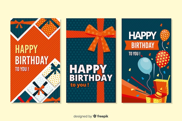 Birthday card collection flat design Premium Vector
