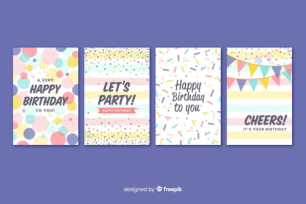 Birthday card collection in flat style Free Vector