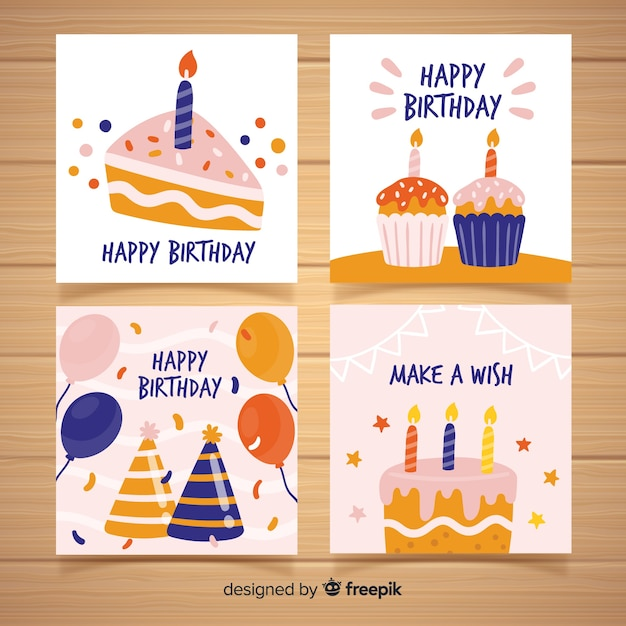 Birthday card collection in hand drawn style Premium Vector