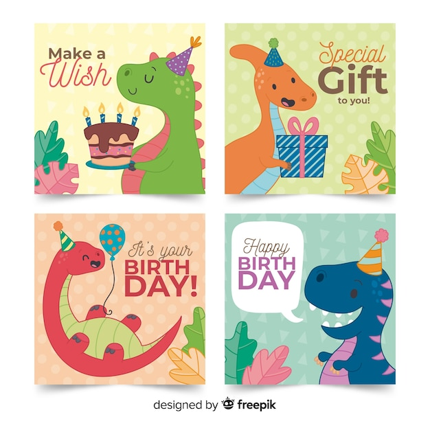 Birthday card collection in hand drawn style Free Vector