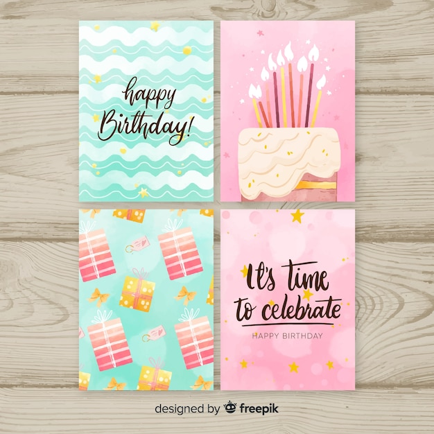 Birthday card collection in watercolor style Premium Vector