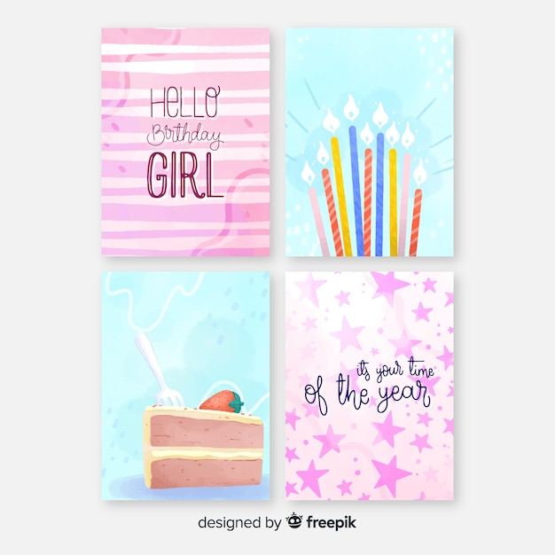 Birthday card collection in watercolor style Free Vector