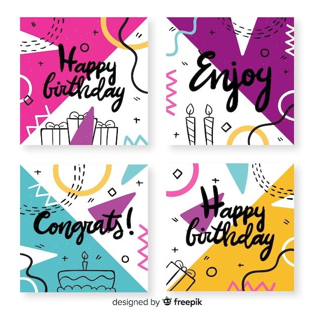 Birthday card collection with abstract shapes Free Vector