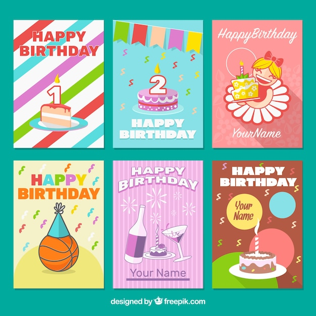 Birthday card collection Vector – Birthday Card Collection