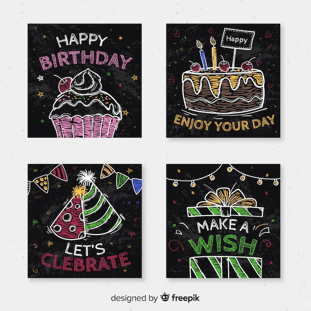 Birthday card collection Free Vector