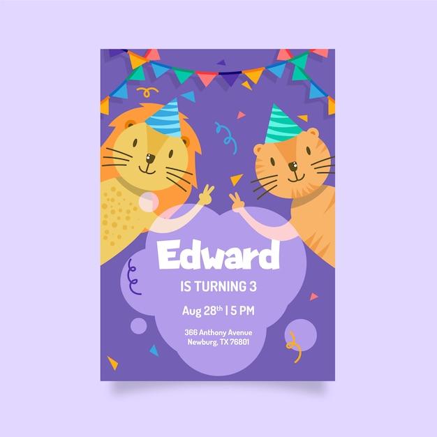 誕生日カードのデザインテンプレート 無料ベクター