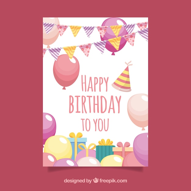 Birthday Card Design Vector Free Download