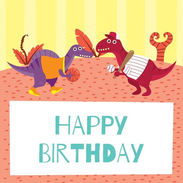 Birthday Card For Children In Cute Dinosaur Theme Vector Premium