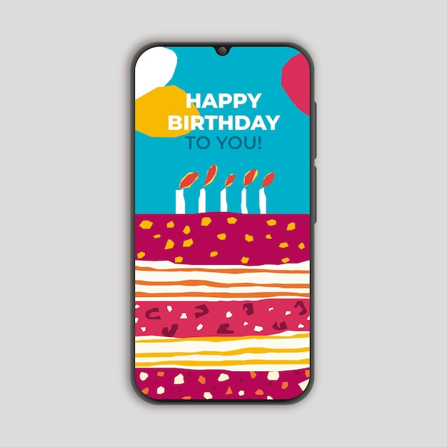 スマートフォンカッタースタイルの誕生日カード 無料ベクター