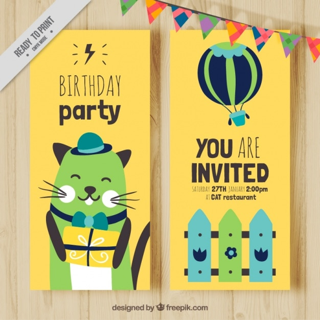 Birthday Card Of Friendly Cat Free Vector
