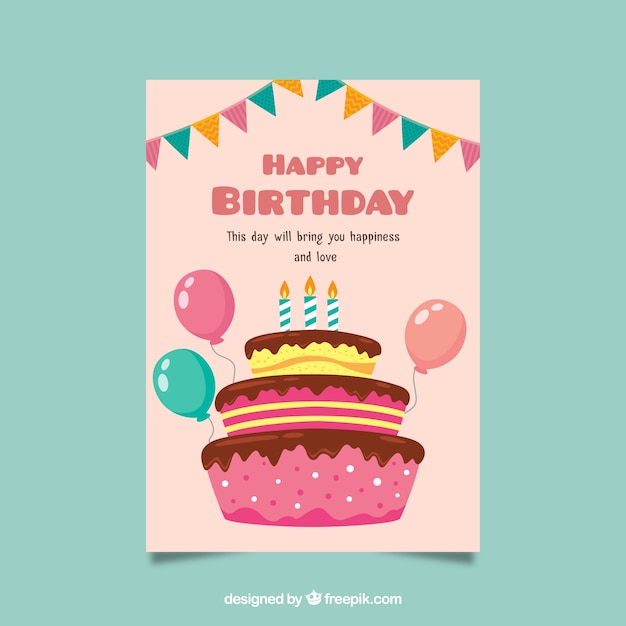 Birthday Card In Flat Design With A Cake Vector Free Download