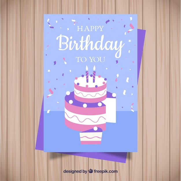 Birthday card in flat style