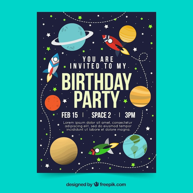 Birthday card in flat style Free Vector