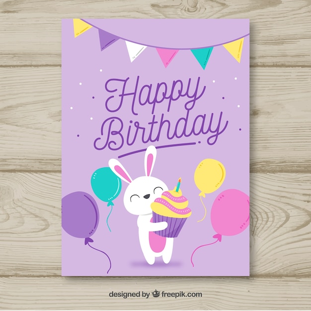 Birthday Card In Hand Drawn Style Vector Free Download