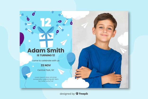 Free Vector Birthday Card Invitation For Boys Template