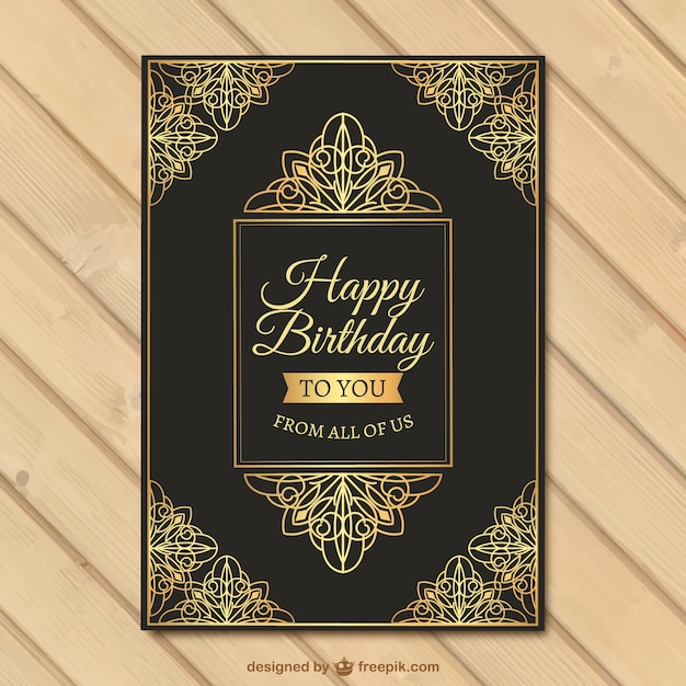 Download Vector Birthday Card Of Golden Ornamental Details