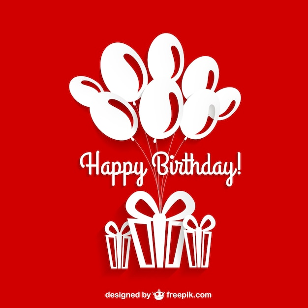 Happy Birthday Editable Card Free Vector Download 15 733: Birthday Card Red And White Vector