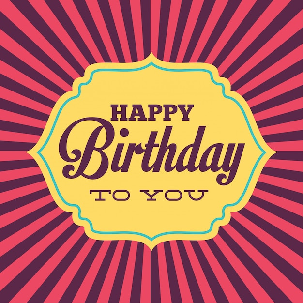 Birthday card in retro style Free Vector