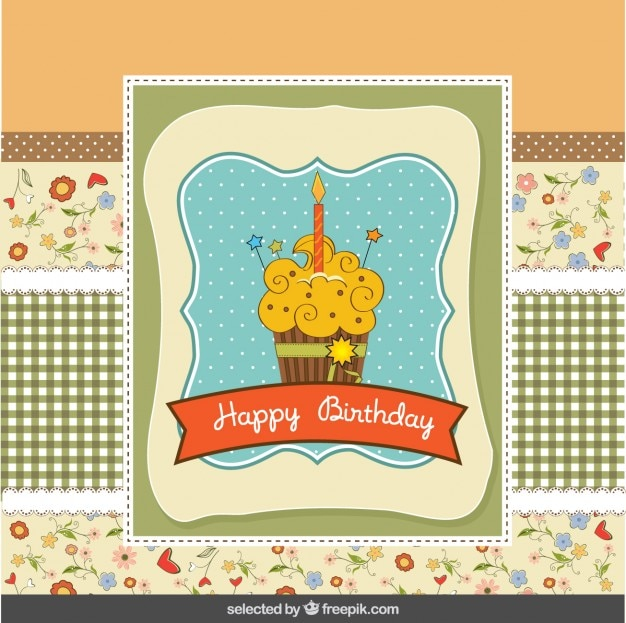 Birthday card in scrapbook style with cupcake Free Vector